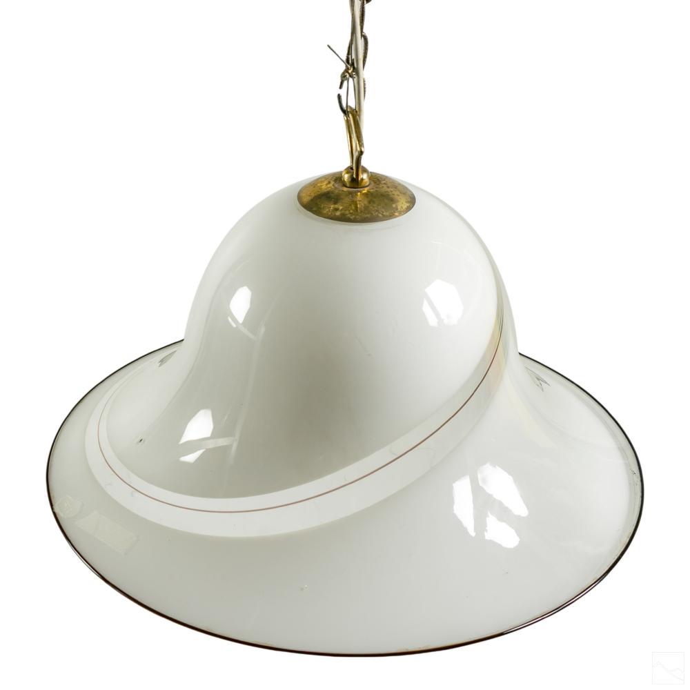 Murano Italian White Glass Hanging Ceiling Lamp