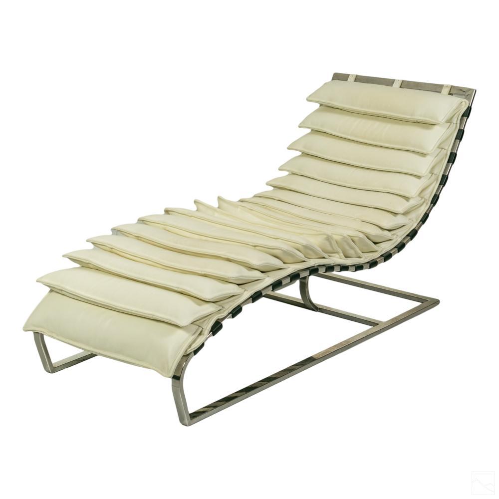 Italian Modern White Flap and Chrome Chaise Lounge