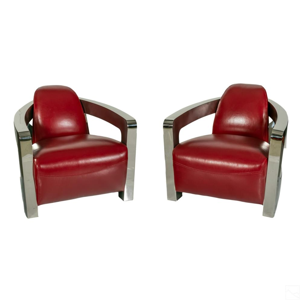 AVIATOR Modern Polished Steel Leather Club Chairs