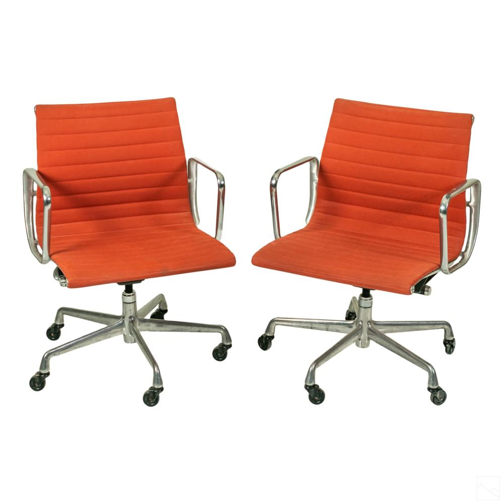 Eames Herman Miller Leather Aluminum Group Chairs