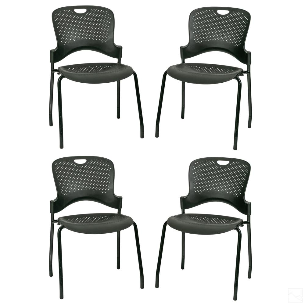 4 Herman Miller Black Caper Stacking Office Chairs
