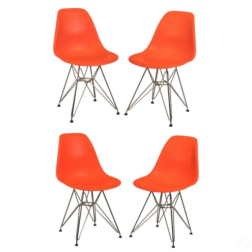 4 Eames Herman Miller Red DSR Eiffel Side Chairs