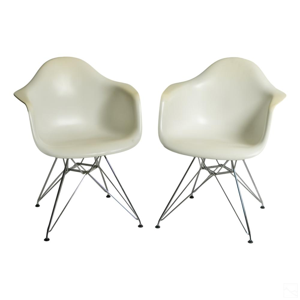 Herman Miller Eames White Eiffel Shell Arm Chairs
