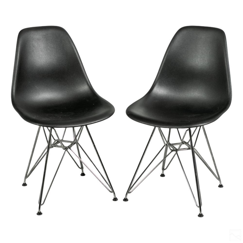 Eames Herman Miller Black DSR Eiffel Side Chairs