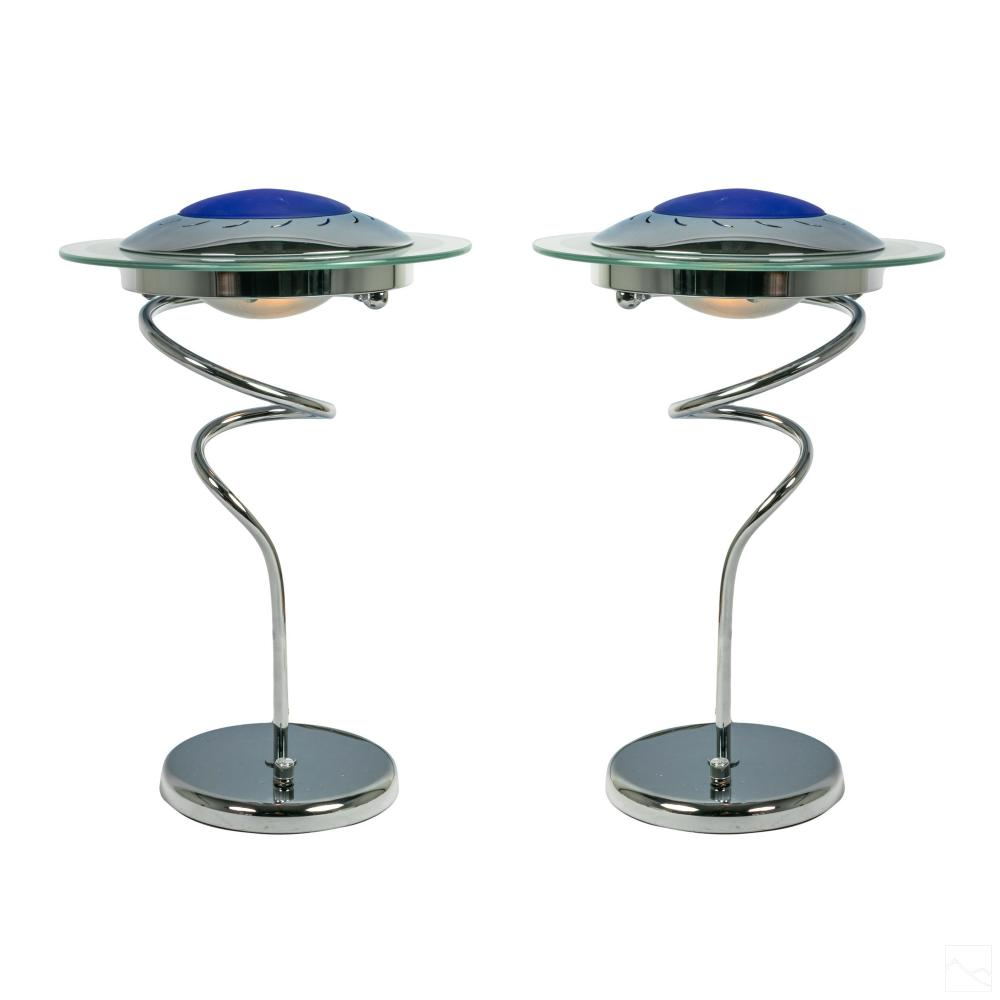 Post Modern Space Age ALIEN UFO Chrome Table Lamps