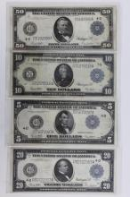 $5 $10 $20 $50 1914 Large Size Fed. Reserve Notes