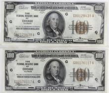 Lot (2) 1929 $100 FR Bank of Chicago Notes