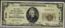 1st NB Birmingham Alabama $20 1929 Ty. 1 Ch. 3185