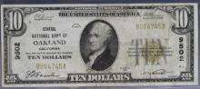 Central NB Oakland California $10 1929 Ty 1 #9502