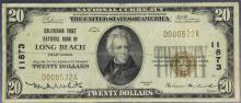 $20 1929 California 1st NB Long Beach Ty. 1 #11873