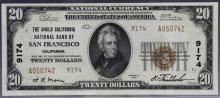 $20 1929 Ty. 2  Anglo California NB San Fran #9174
