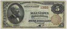 Rare 1882 Brn Seal Allentown PA  National $5 Bill