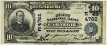 1902 $10 1st NB Carnegie PA National Currency Note