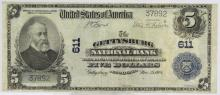 UNSIGNED 1902 $5 Gettysburg NB PA National Note