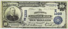 1902 $10 NB of Allentown PA National Currency Note