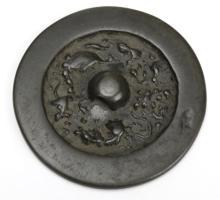 Tang Dynasty Round Lion Grape Bronze Hand Mirror