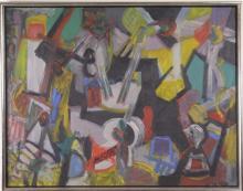 "Max Schnitzler (1903-1999) New York, American Abstract ""Jazz Bar"" Oil Painting WPA"