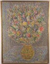 Max Schnitzler (1903-1999) New York, American Abstract Floral Still Life Oil Painting WPA