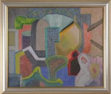 Max Schnitzler (1903-1999) New York, American Abstract Composition Oil Painting WPA