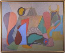 Max Schnitzler (1903-1999) New York, American Masterpiece Abstract Composition Oil Painting WPA
