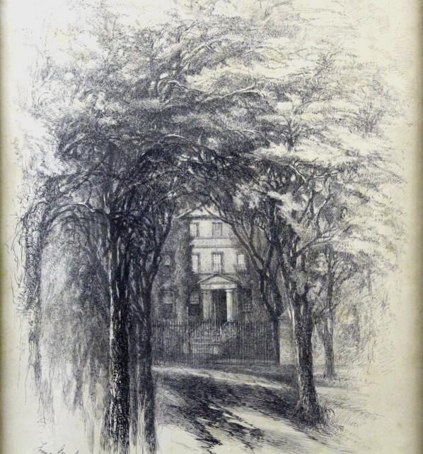 Eliza Greatorex 1869 Ink Sketch, New York Hospital