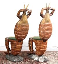 2 Antique Venetian Polychrome Lobster Grotto Chair