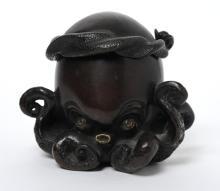 Japnese Meiji Period Bronze Octopus Lidded Box