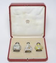 CARTIER Silver Mounted Chinese Snuff Bottle 3p SET