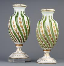 PAIR Moser Karlsbad Enameled Green White Vase 12