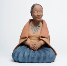 Larry Dewitt Sitting Navajo Lady Pottery Sculpture