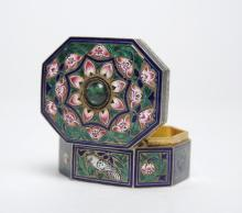 Persian Enameled Silver Pill Box Emerald Cabochon