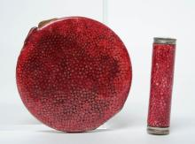 Red Art Deco French Shagreen Compact & Lipstick