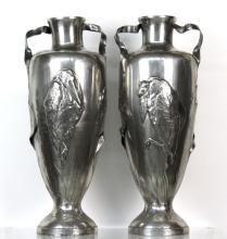 PAIR Large Kaiser-Zinn Art Nouveau Pewter Vase
