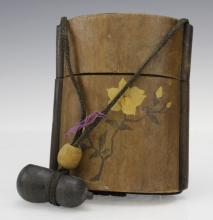 Japanese Inlaid Wood Inro Case Gourd Formed Toggle