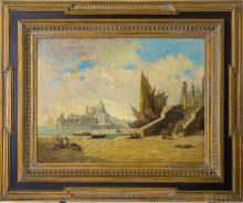 Karl Heiner Landscape View of Venice Oil Painting