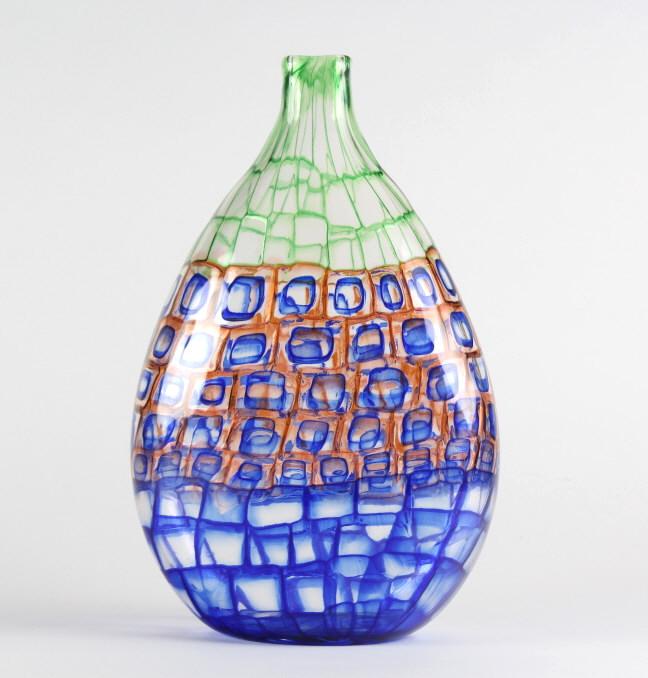 Murano SIGNED Occhi Mosaico Murrine Art Glass Vase