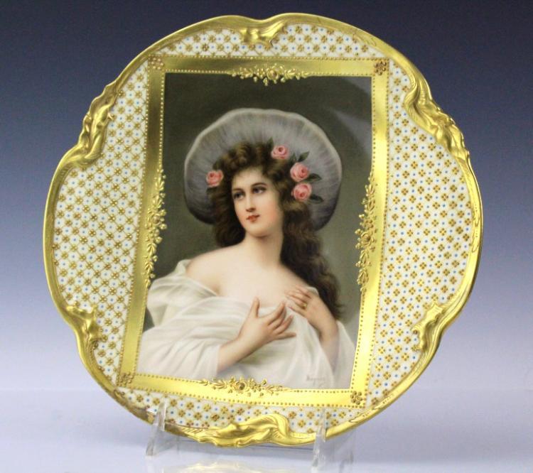 SIGNED Wagner Dresden Porcelain Portrait Plate 10