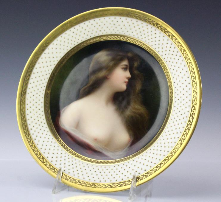 Royal Vienna Style Porcelain Maiden Portrait Plate