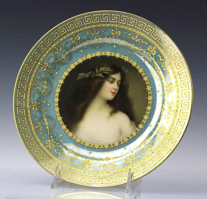 Royal Vienna Porcelain Maiden Portrait Plate 9