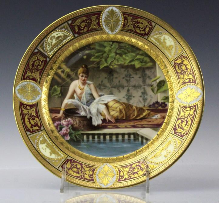 Royal Vienna Porcelain Maiden Portrait Plate 8.75