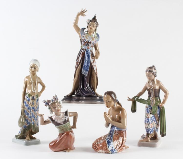 5 DAHL JENSEN Asian Nude Copenhagen Figurine RARE