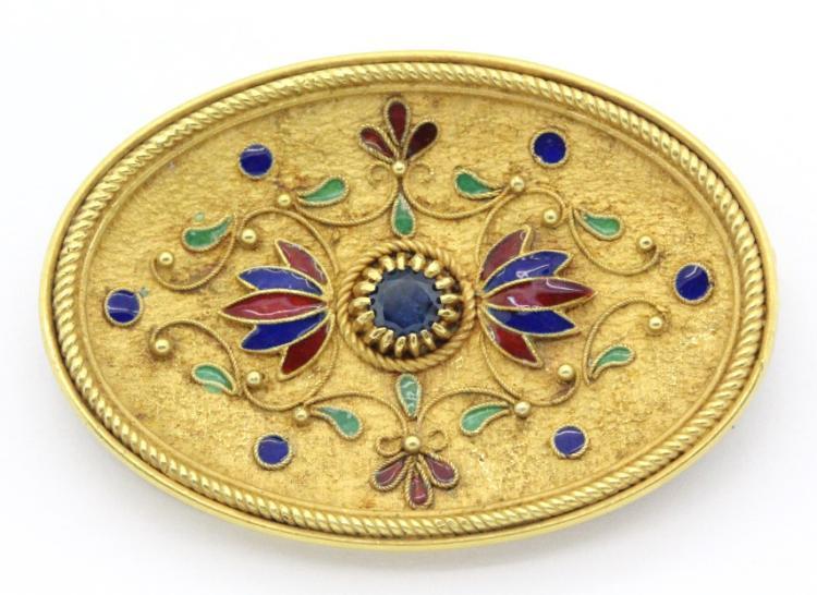 18K GOLD Etruscan Enamel Sapphire Brooch Pin 15gr