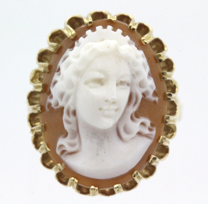 British 14k Gold High Relief Carved Cameo Ring s 7