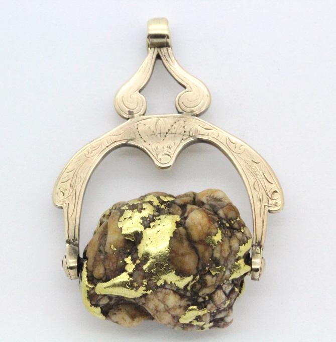 LARGE Natural Gold Rush Era Nugget On 10k Fob 37gr