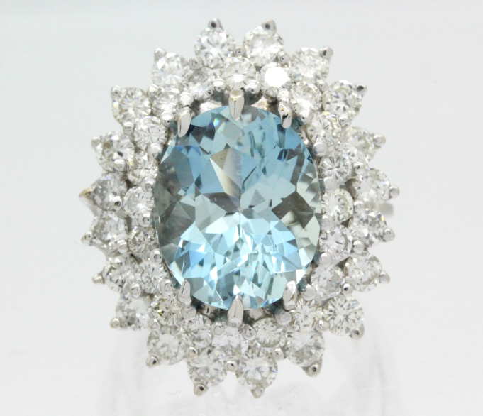 FINE 14K White Gold Diamond Aquamarine Ring 13.2gr