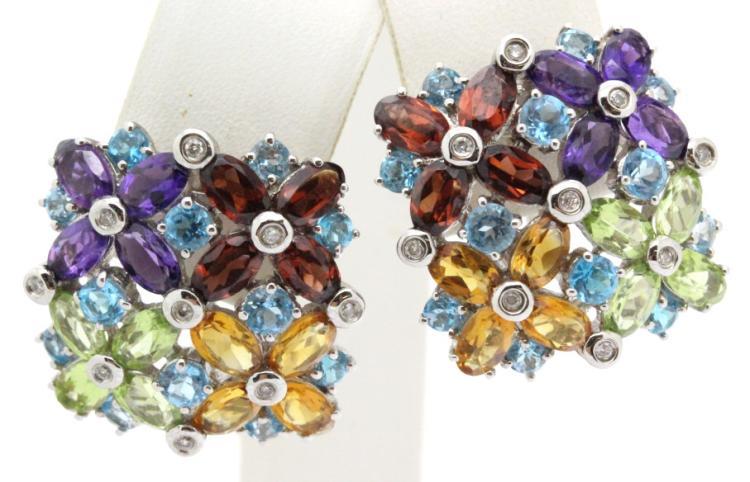 FINE Designer 14K White Gold Gemstone Earrings 11g