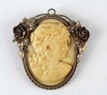 Victorian Sterling Silver Deep Relief Carved Cameo