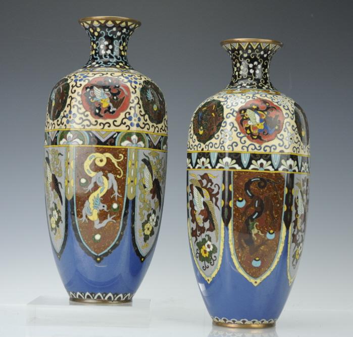 Pair of Japanese Cloisonne Goldstone Enamel Vases