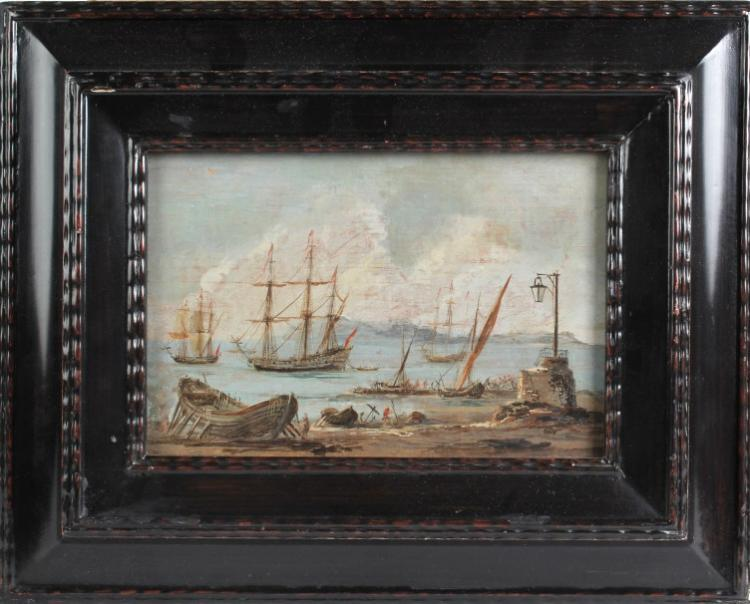Antique Dutch 18th Century Seascape Oil Painting