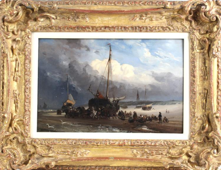 Charles Rochussen Dutch Ship Landscape Painting